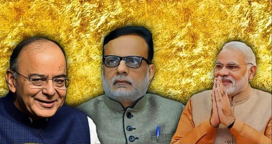 وزیر خزانہ ارون جیٹلی، فنانس سکریٹری ہنس مکھ ادھیا اور وزیر اعظم نریندر مودی (فوٹو : رائٹرس / پی ٹی آئی / پھلیکر)