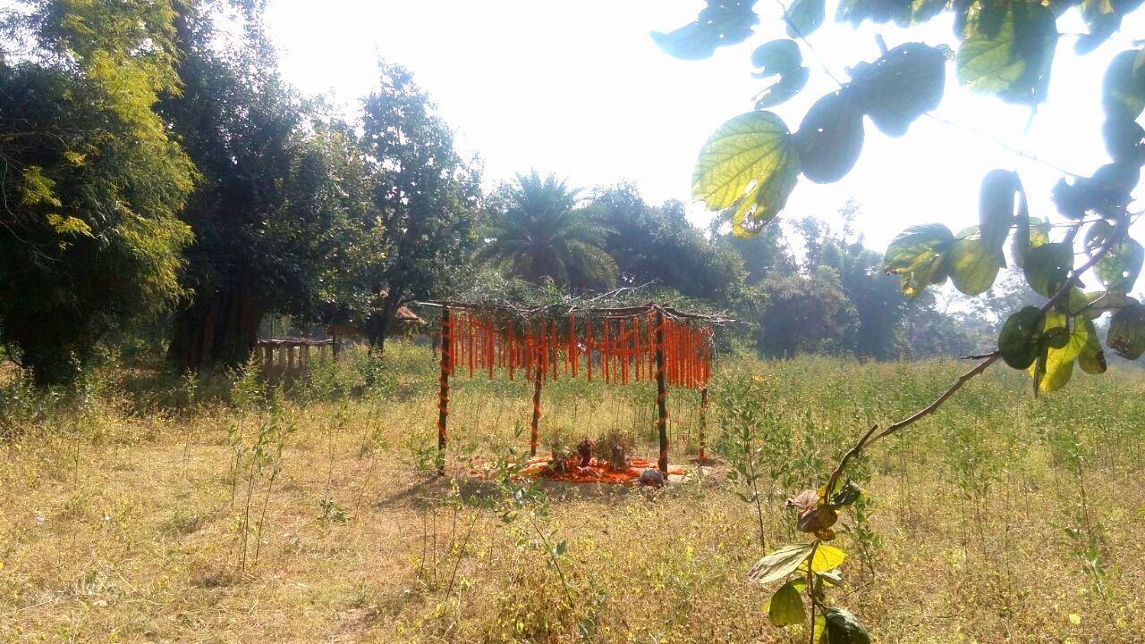 البرٹ اکاکی سمادھی کی جگہ سے دوبارہ لائی گئی مٹی جاری گاؤں میں اسی جگہ رکھی گئی تھی (فوٹو : رتن ترکی)