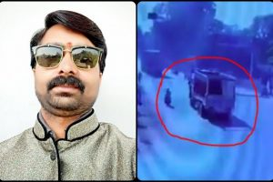 صحافی سندیپ شرما (بائیں)سی سی ٹی وی فوٹیج میں موٹرسائیکل سوار سندیپ کی طرف جاتا دکھائی ٹرک (دائیں)/فوٹو بشکریہ : ٹوئٹر