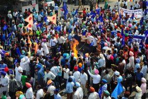 پٹیالہ میں مظاہرہ (فوٹو : پی ٹی آئی)