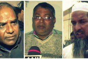 (بائیں سے) دلّی میں مارے گئے انکت سکسینہ کے والد یشپال سکسینہ، کاس گنج تشدد میں مارے گئے چندن کے والد سشیل گپتا اور آسنسول کے مولانا رشیدی (فوٹو بشکریہ : یوٹیوب / اے این آئی / ٹوئٹر)
