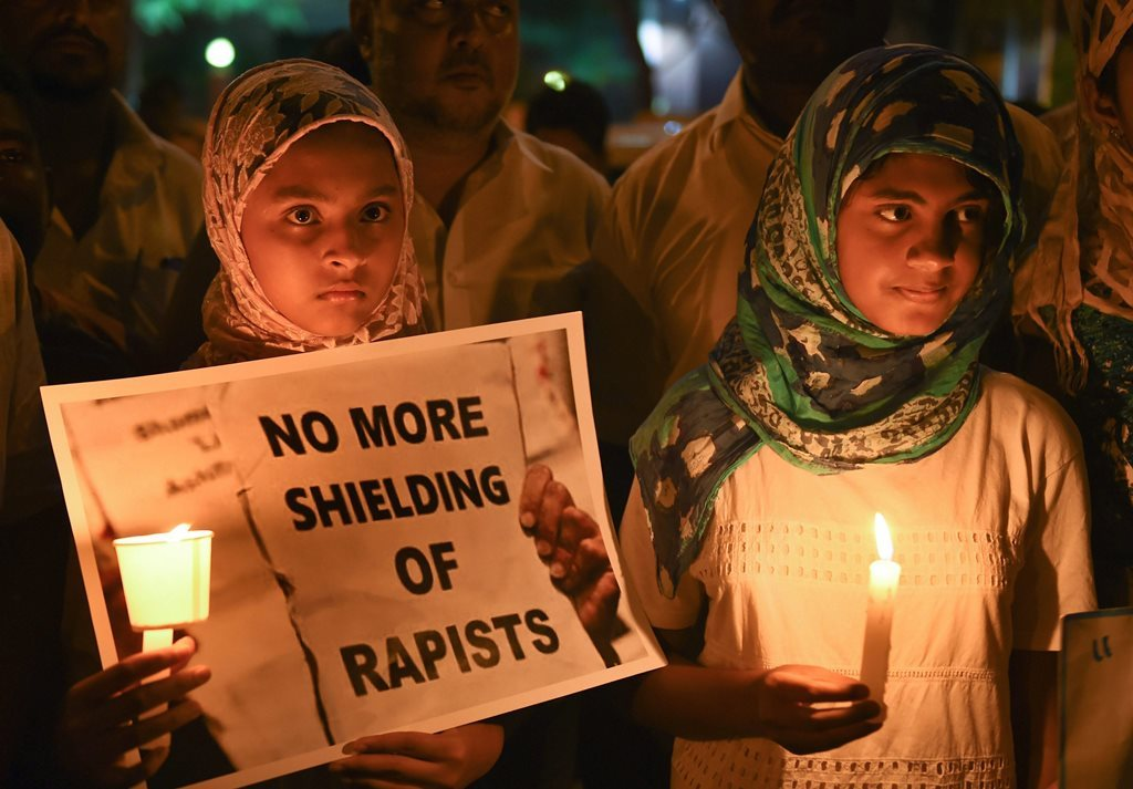 Protest against Kathua Rape PTI