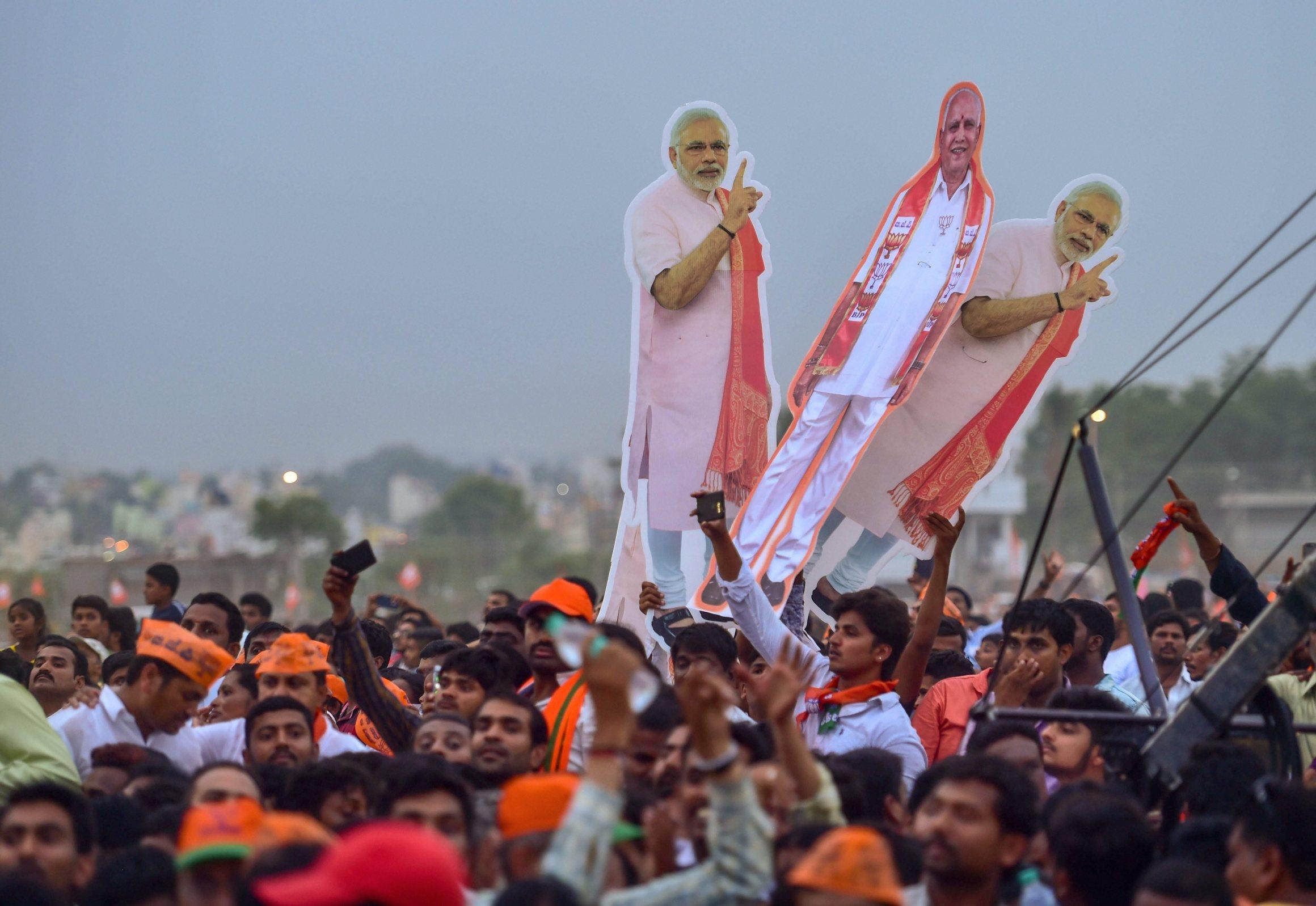 بنگلور میں بی جے پی کی ایک انتخابی ریلی کا منظر/ فوٹو : پی ٹی آئی
