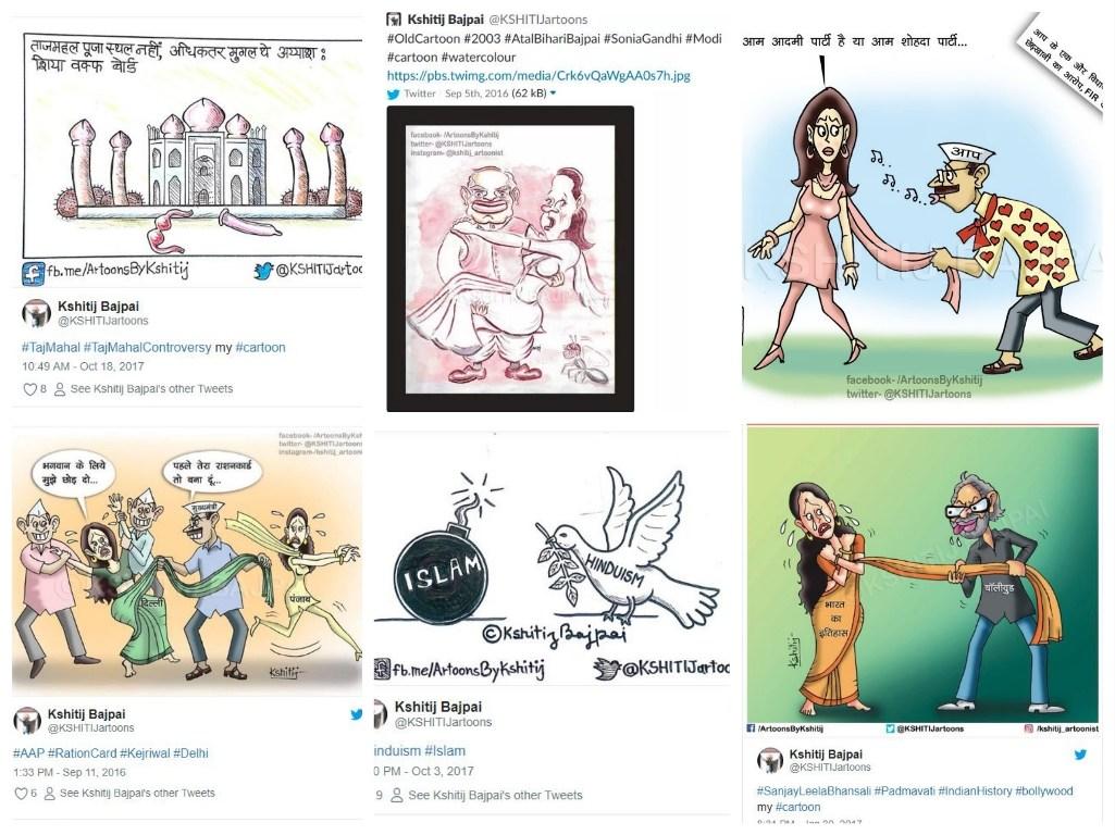 شتج کے زیادہ تر کارٹون فرقہ وارانہ، فحش اور خواتین مخالف ہیں/ (فوٹو:بشکریہ : شتج باجپئی / ٹوئٹر اور آلٹ نیوز )