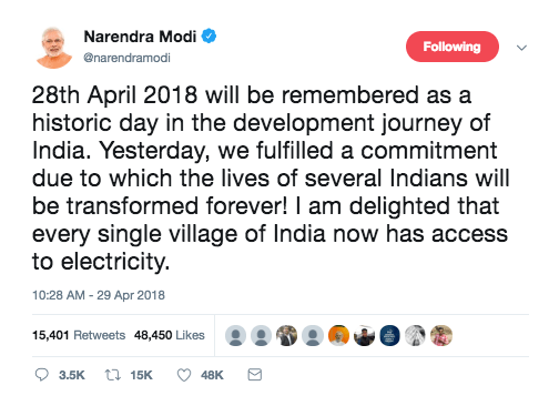 Modi-Tweet-Electrification