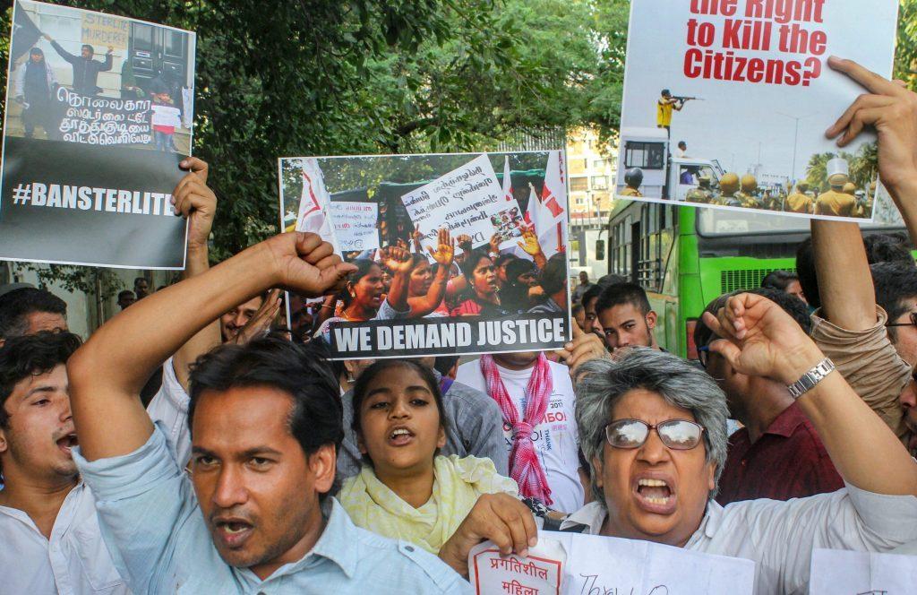 توتی کورن تشدد کی مخالفت میں دہلی میں ہوا احتجاج(فوٹو : پی ٹی آئی)