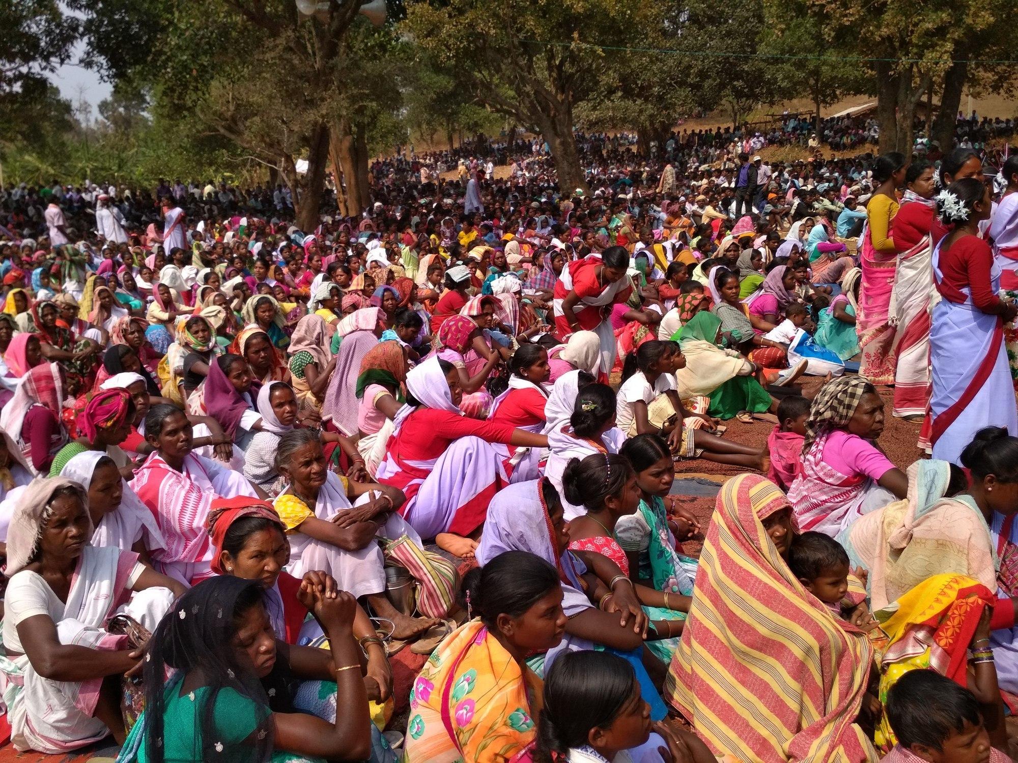 جھارکھنڈ کے کھونٹی ضلع کے کوچانگ گاؤں میں پتھل گڑی پروگرام میں شامل لوگ۔ (فائل فوٹو : نیرج سنہا / دی وائر)