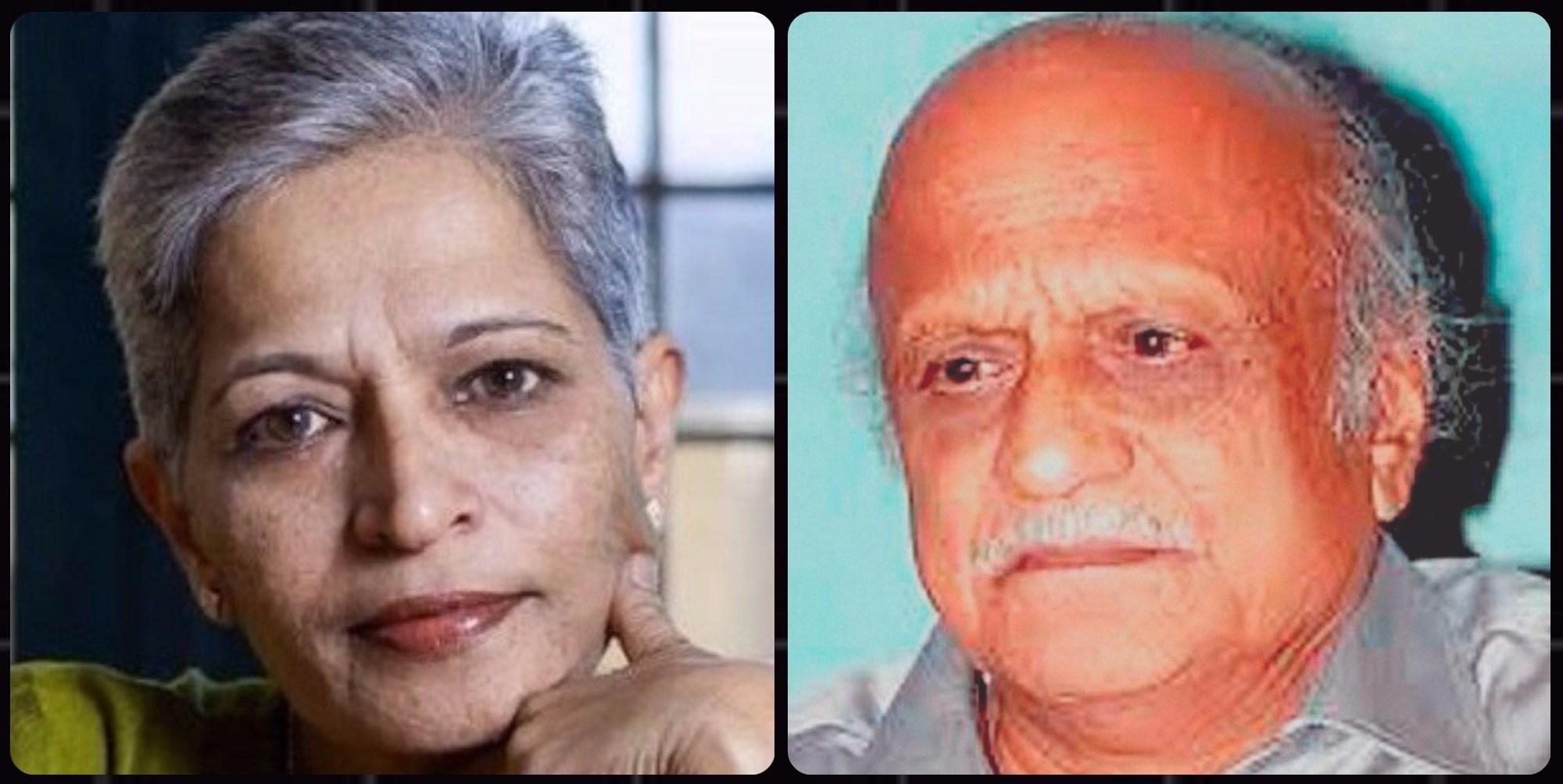 گوری لنکیش اور ایم ایم کلبرگی (فوٹو : فیس بک / پی ٹی آئی)