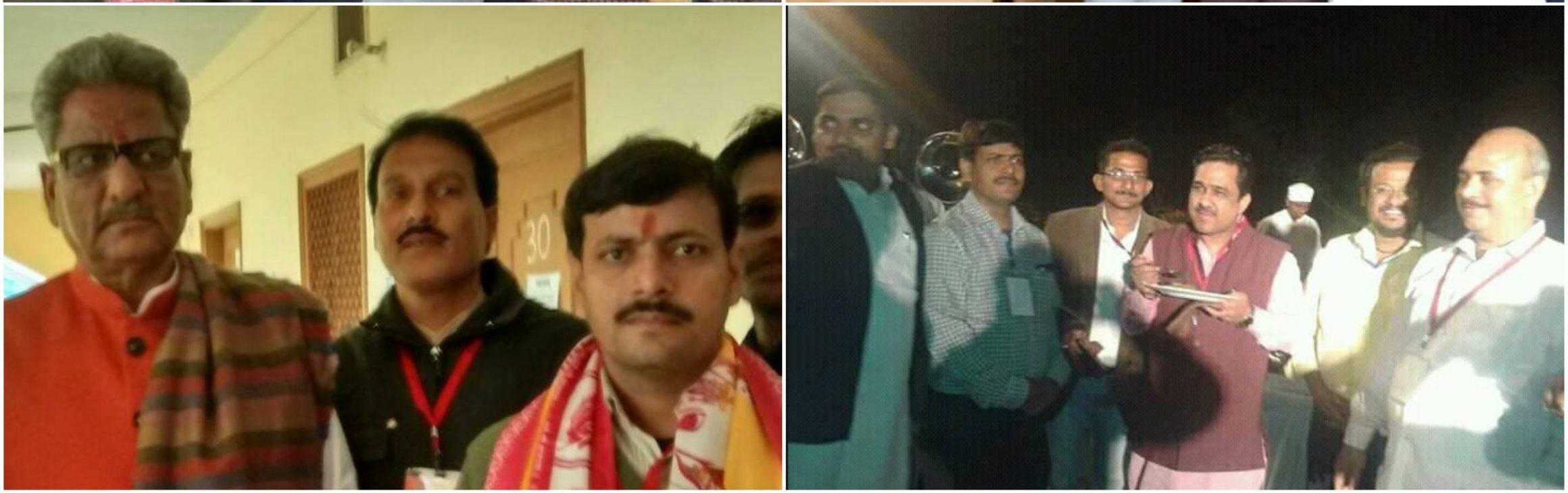 اتر پردیش بی جے پی کے صدر اوم ماتھر اور وزیر سنیل بنسل کے ساتھ ڈاکٹر آدتیہ کمار سنگھ (فوٹو : فیس بک پروفائل)