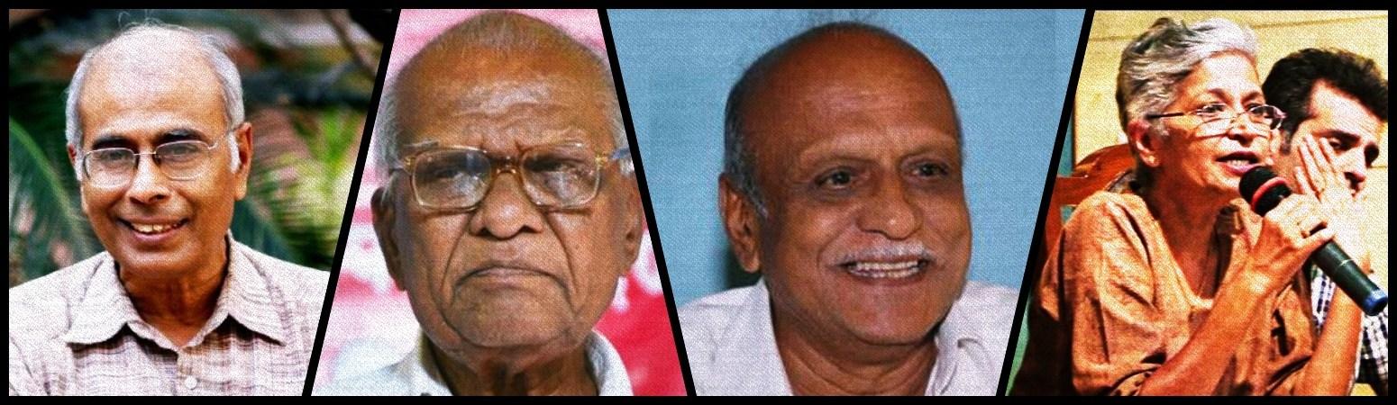 نریندر دابھولکر، گووند پانسرے، ایم ایم کلبرگی اور گوری لنکیش (فوٹو بشکریہ : ٹوئٹر اور پی ٹی آئی)