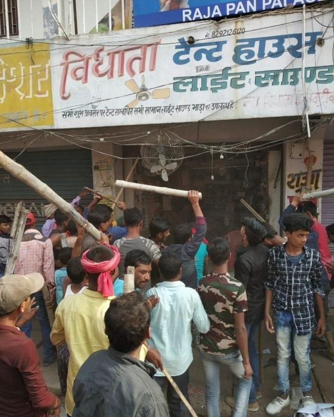 گئوشالا گیٹ پر مسلم دکاندار (محمد اصغر)کی دکان پر توڑپھوڑ (سوشل میڈیا پروائرل فوٹو)