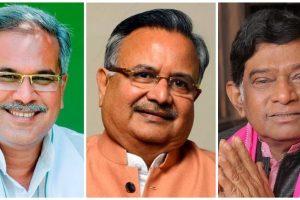 چھتیس گڑھ ریاستی کانگریس صدر بھوپیش بگھیل، وزیراعلیٰ رمن سنگھ اور اجیت جوگی۔ (فوٹو بشکریہ: فیس بک)