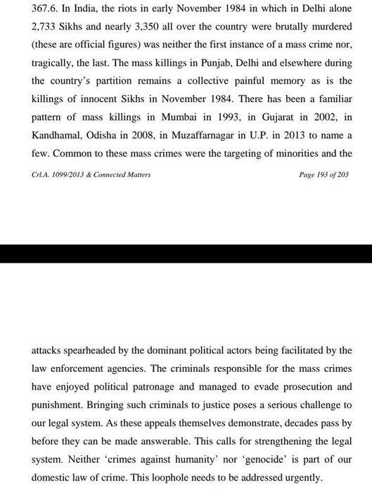 سکھ فسادات معاملے میں دہلی ہائی کورٹ کے فیصلے کا ایک حصہ