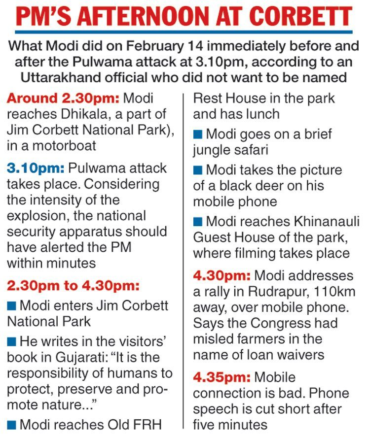 دی ٹیلی گراف اخبار میں شائع وزیر اعظم نریندر مودی کی 14 فروری کو اتراکھنڈ دورے کی ٹائم لائن۔