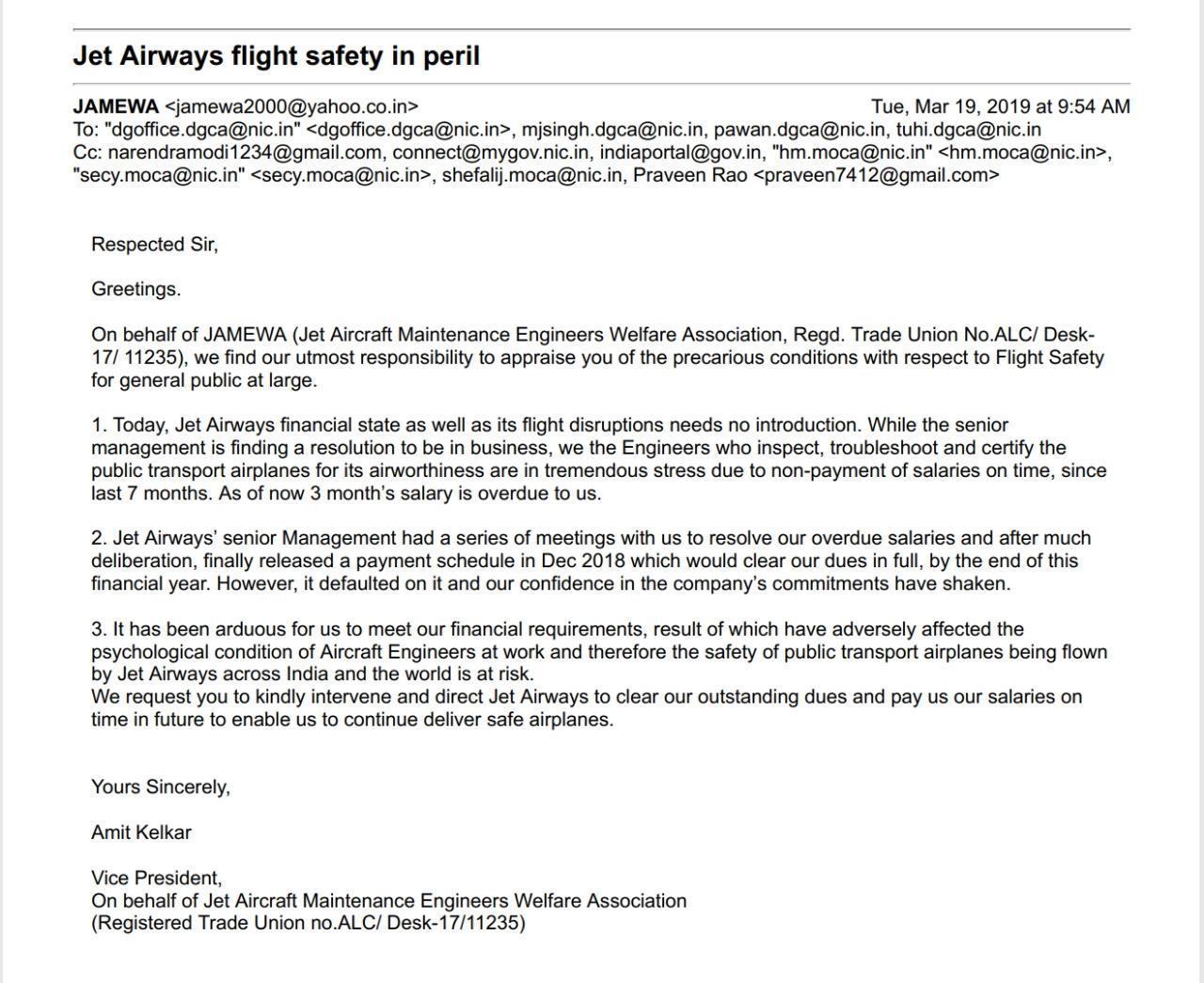 جیٹ ایئرکرافٹ انجینئرس ویلفیئر ایسوسی ایشن کی طرف سے ڈی جی سی اے کو بھیجا گیا خط۔ (فوٹو بہ شکریہ : ٹوئٹر)