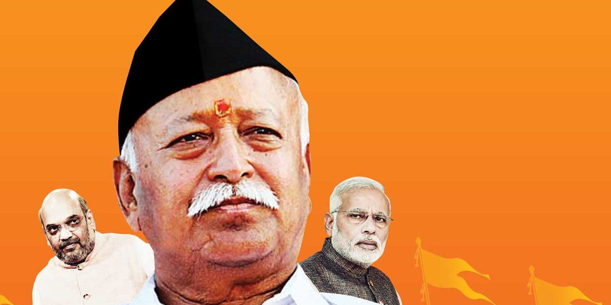 BJP president Amit Shah, RSS chief Mohan Bhagwat, Prime Minister Narendra Modi. Illustration credit: parliamentarian.in
