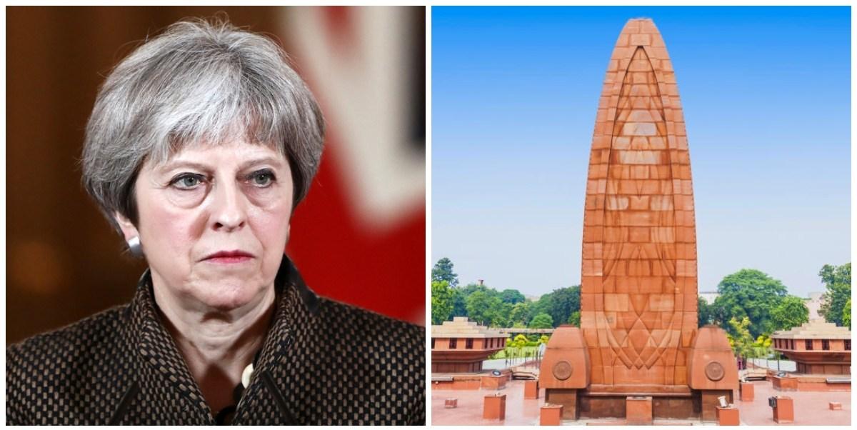 برٹن کی وزیر اعظم ٹیریسا مے اور جلیاں والا باغ قتل عام کی یاد میں بنایا گیا میموریل(فوٹو : رائٹرس/ وکی پیڈیا)