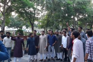 A protest against the attack at Aligarh Muslim University. Photo: Special arrangement
