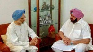 سابق وزیر اعظم منموہن سنگھ اور پنجاب کے وزیر اعلیٰ کپیٹن امریندر سنگھ، فوٹو: اے این آئی