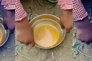 A video screengrab allegedly showing the remnants of rice and turmeric water_Twitter