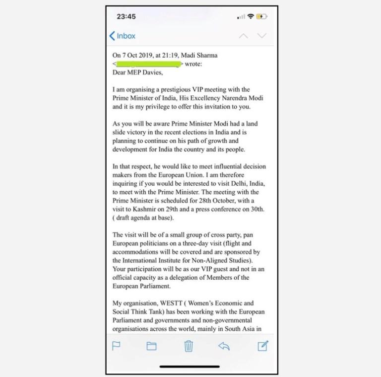 7 اکتوبر کو کرس ڈیوس کو مادی شرما کےذریعے بھیجا گیا ای میل۔