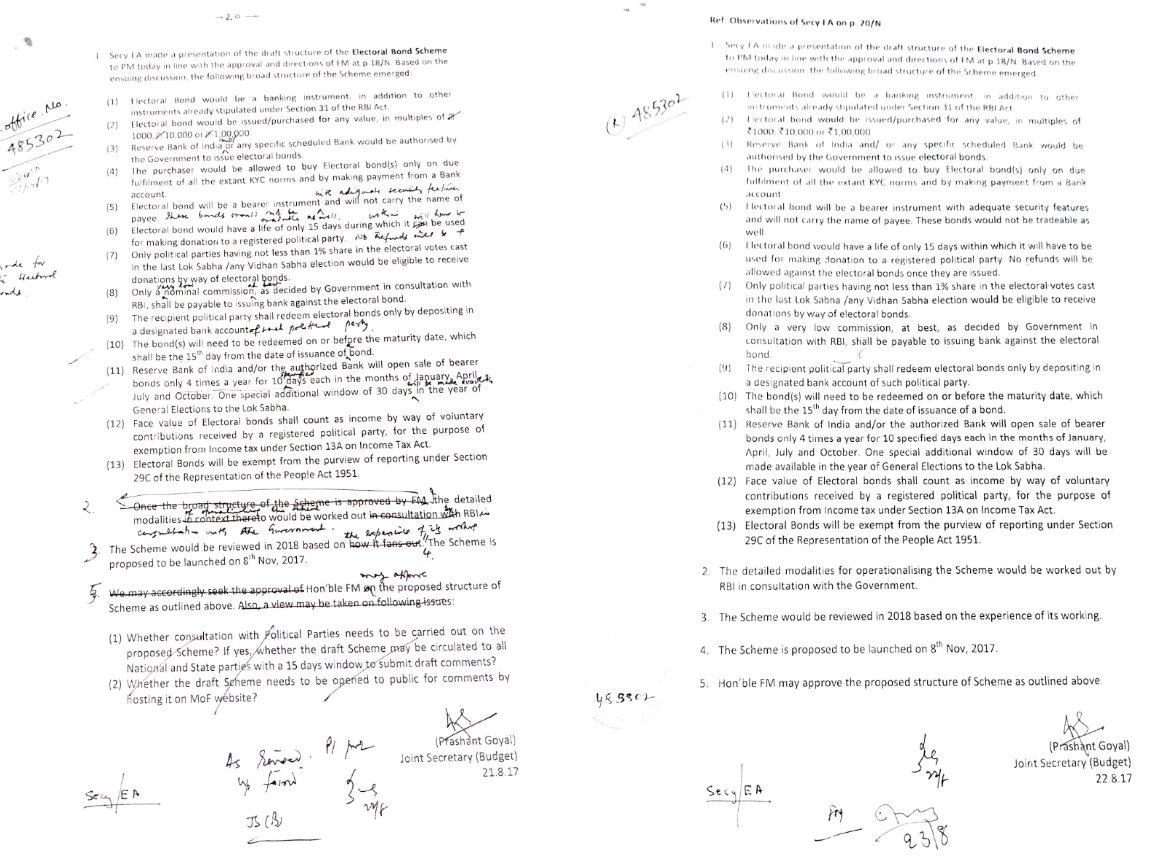 21 اگست 2017 کو وزیر اعظم نریندر مودی کے ساتھ ہوئی میٹنگ اور اس کی بنیاد پر لئے گئے فیصلے کی فائل نوٹنگ۔