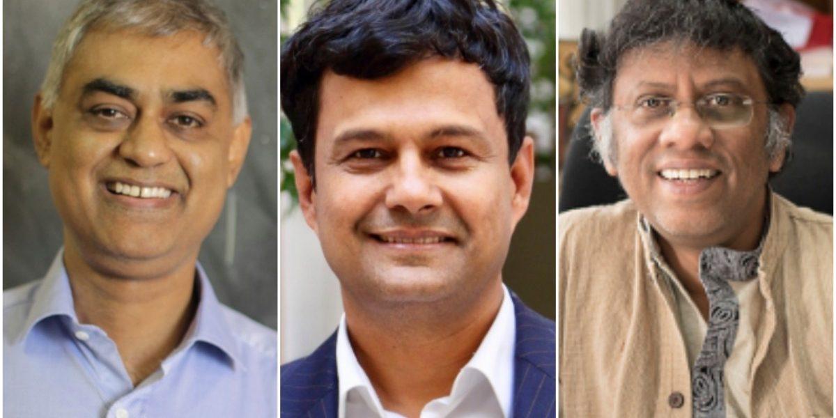 (L-R) Sandip Trivedi, Atish Dabholkar and Rajesh Gopakumar. Photos: TIFR, Betterwik/Wikimedia Commons, ICTS