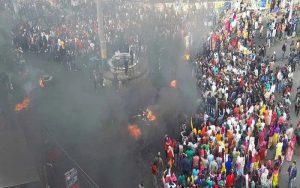 آسام کے تن سکیا میں شہریت ترمیم بل کی مخالفت کرتے مظاہرین (فوٹو : پی ٹی آئی)