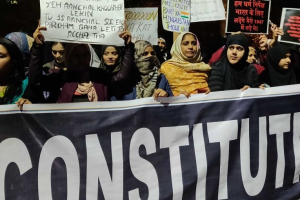 People protest the Citizenship (Amendment) Act in Delhi. Photo: Naomi Barton/The Wire