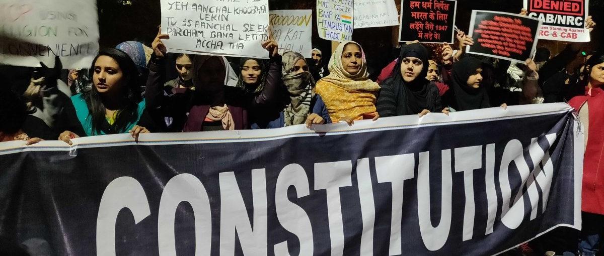 People protest the Citizenship (Amendment) Act in Delhi. Photo: Naomi Barton/The Wire