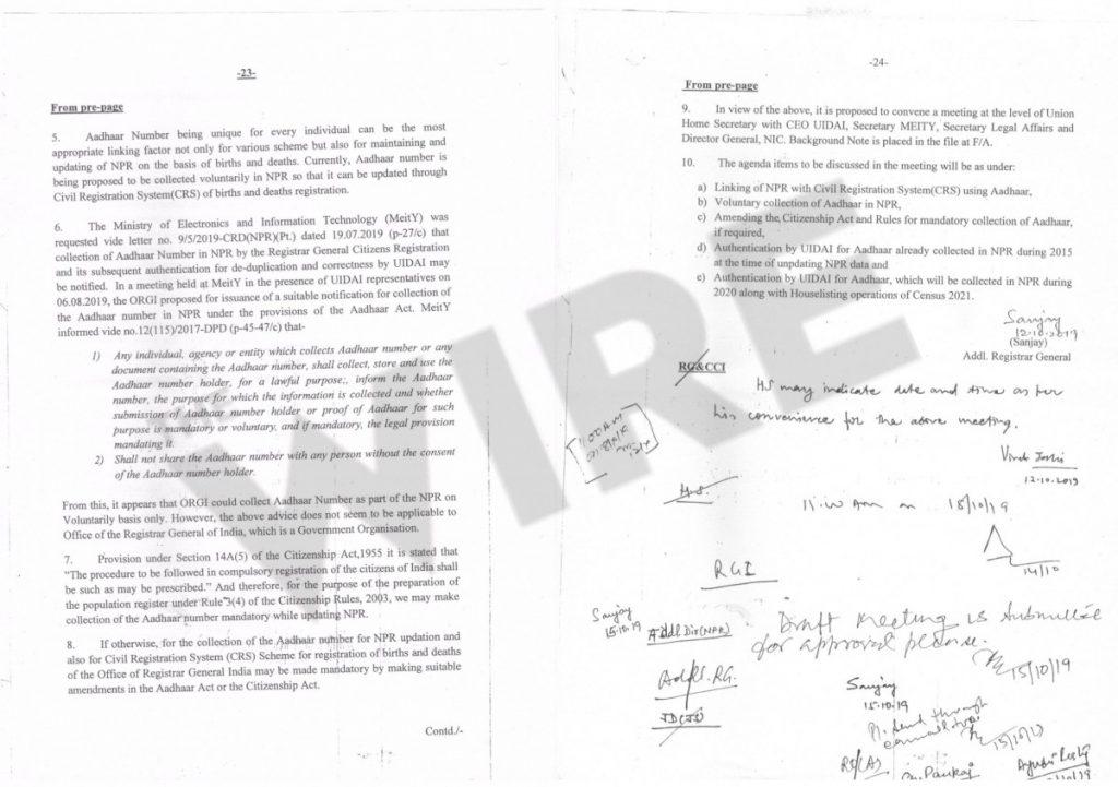 رجسٹرار جنرل دفتر نے تجویز رکھی کہ اگر موجودہ ضابطوں کے تحت ایسا نہیں ہوپاتا ہے کہ اس کے لیے آدھار ایکٹ اور شہریت قانون میں ترمیم کی جائے۔