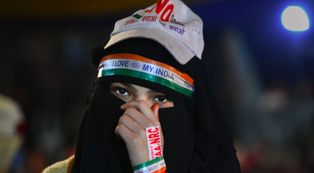 A protester at Delhi's Shaheen Bagh on January 14. Photo: PTI