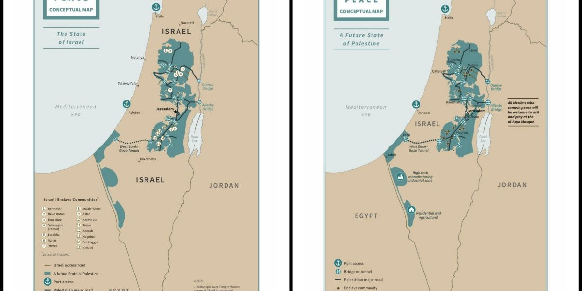 Maps from Trump's vision for Israel and Palestine.
