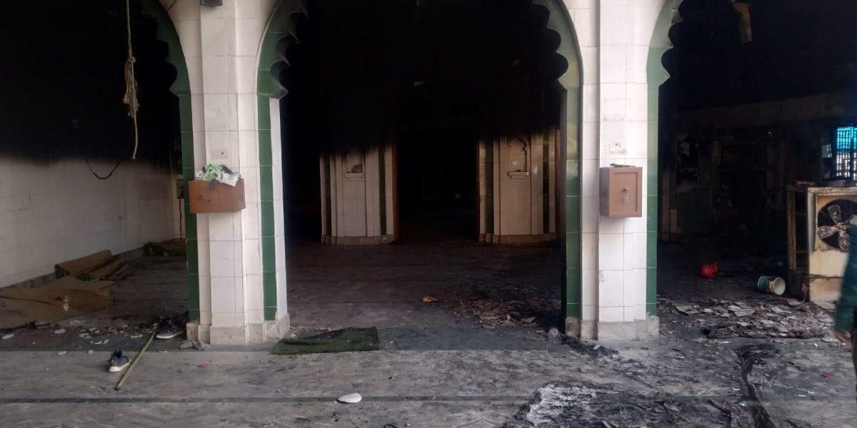 مبینہ طورپرفاروقیہ مسجد میں ہندوتوا ماب کے ذریعے آگ لگائی گئی تھی ۔