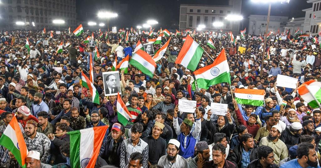 حیدر آباد میں شہریت ترمیم قانون کےخلاف ہوا مظاہرہ(فوٹو : پی ٹی آئی)