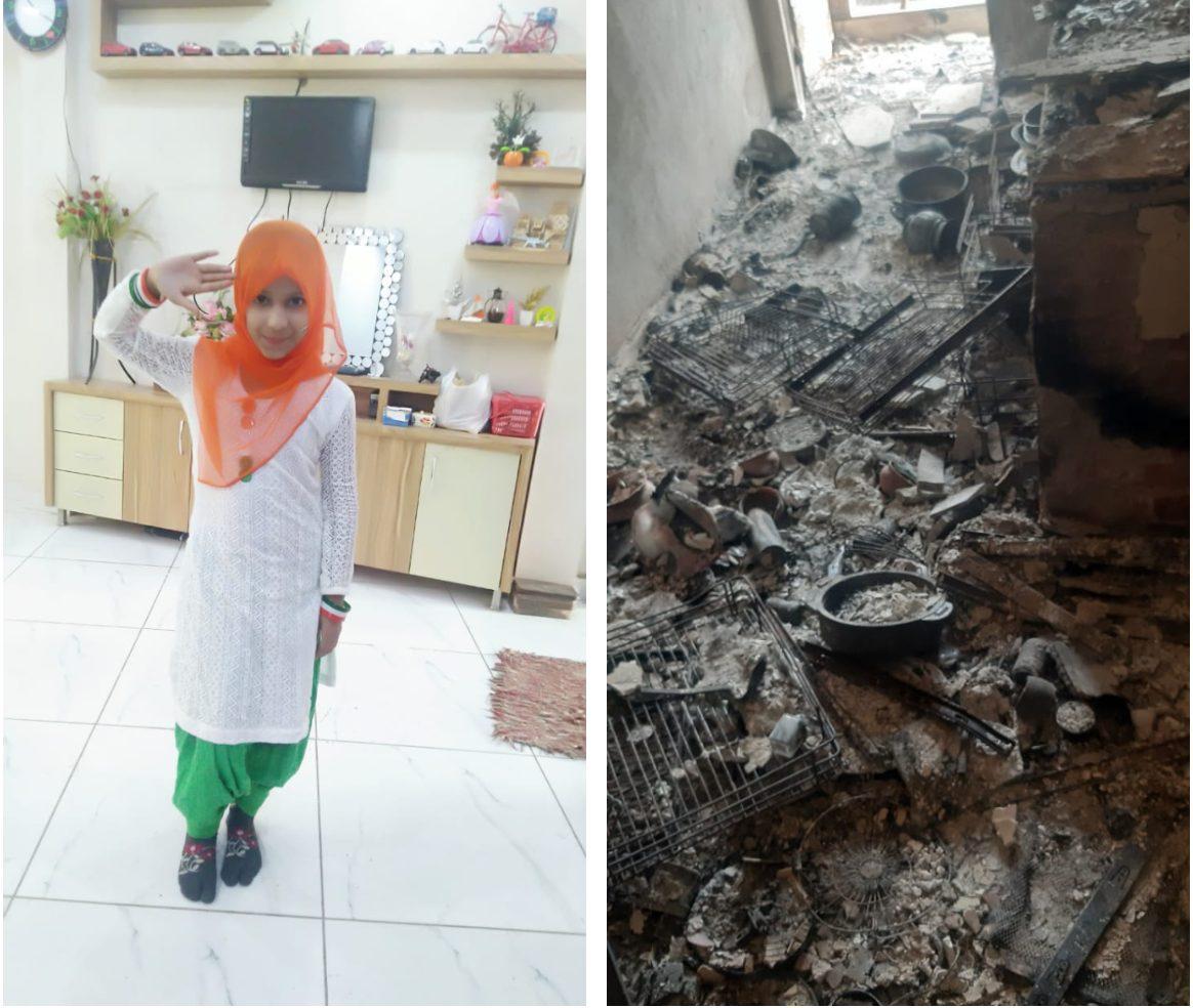 جاوید خان کا گھر جلنے سے پہلے اور بعد کی حالت۔