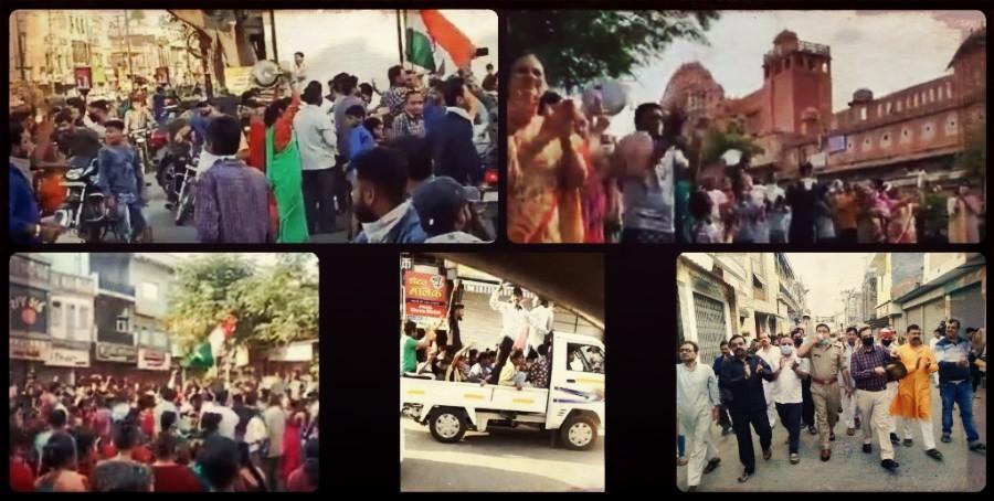 کورونا وائرس کے انفیکشن کے مدنظر 22 مارچ 2020 کو وزیر اعظم نریندر مودی کی اپیل پر ہوئے جنتا کرفیو کے دوران سڑک پر نکلے مختلف شہروں کے لوگ۔ (فوٹوبہ شکریہ : ٹوئٹر)
