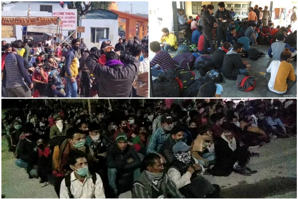 ہندوستان-نیپال سرحد پر نو مینس لینڈ میں پھنسے نیپالی مزدور، جن کوبعد میں ہندوستانی سرحد میں لے جایا گیا۔(فوٹو : راجیش جیسوال)