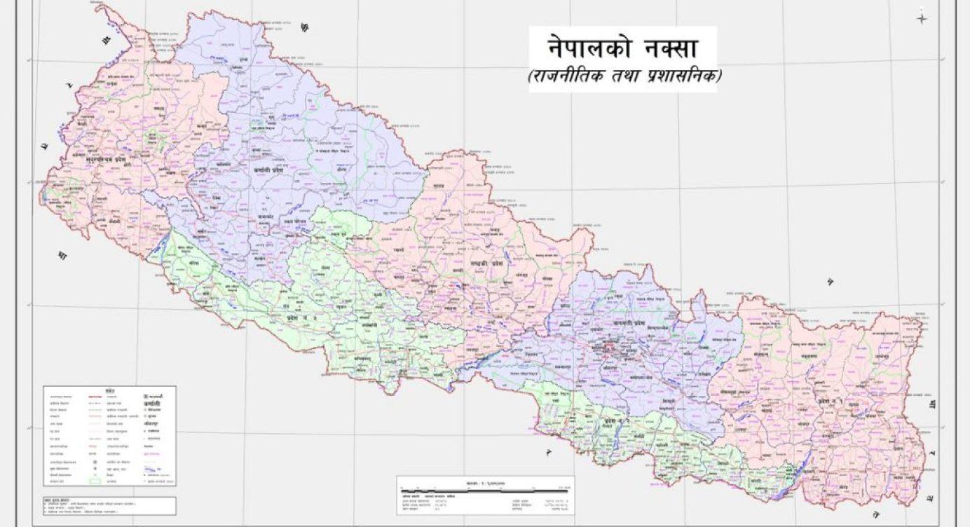 نیپال کا نیا سیاسی اور انتظامی نقشہ۔ (فوٹو: نیپال سرکار)
