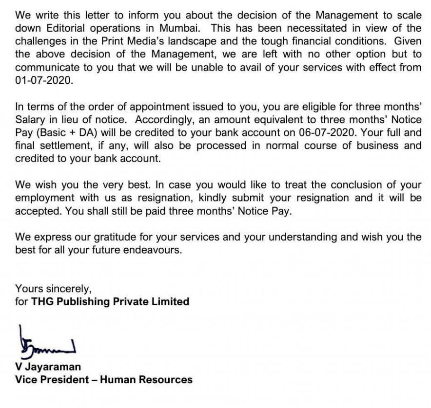 دی ہندو کے صحافیوں کو ایچ آر کی جانب سے بھیجا گیا خط۔