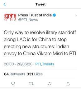 چین میں ہندوستانی سفیر کے بیان والا پی ٹی آئی کا ٹوئٹ، جس کو اب ہٹا دیا گیا ہے۔