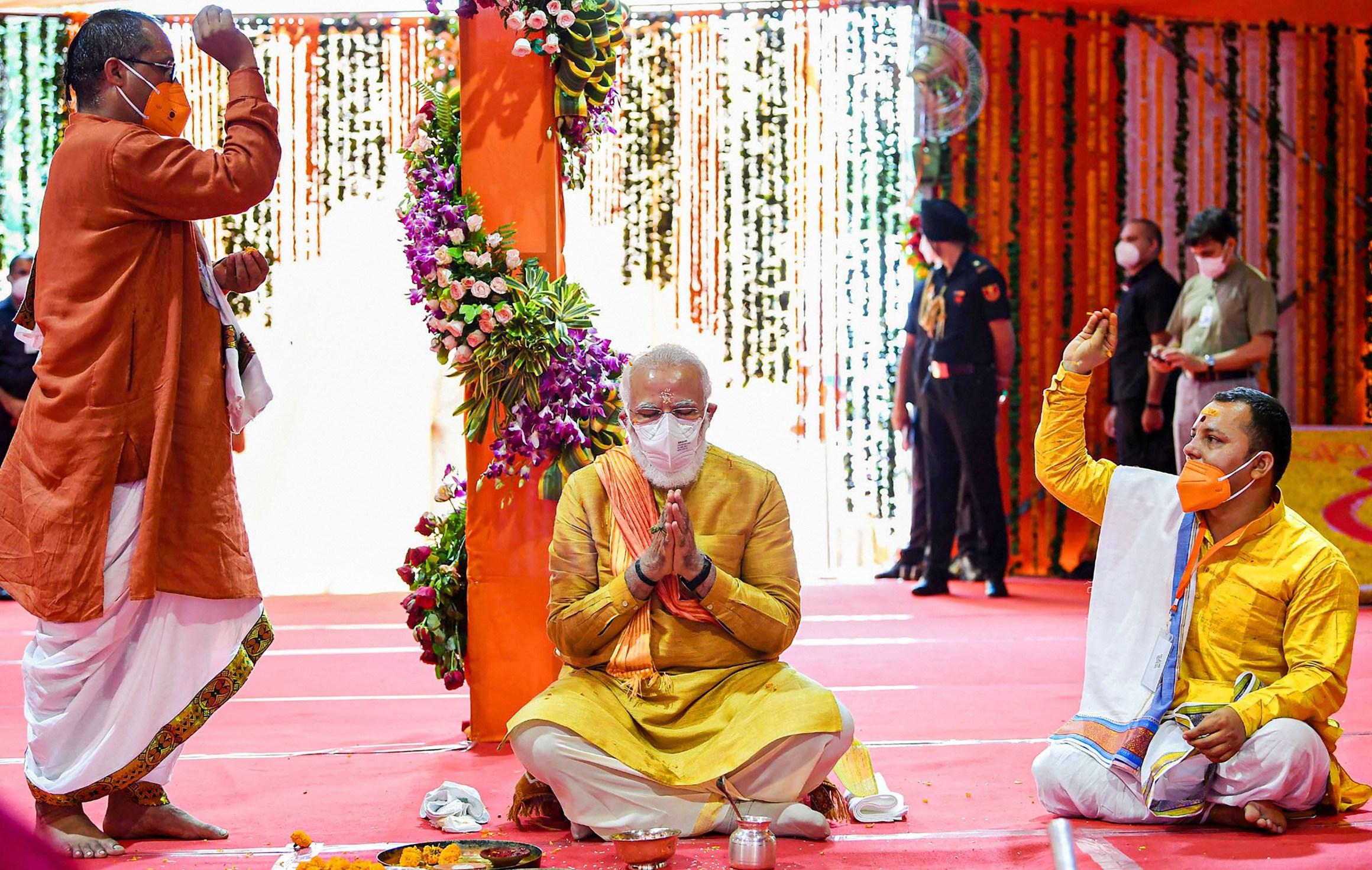 ایودھیا میں رام مندر بھومی پوجن تقریب میں وزیر اعظم نریندر مودی(فوٹو: پی ٹی آئی)