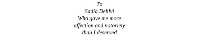 سعدیہ دہلوی کے نام خشونت سنگھ کا انتساب