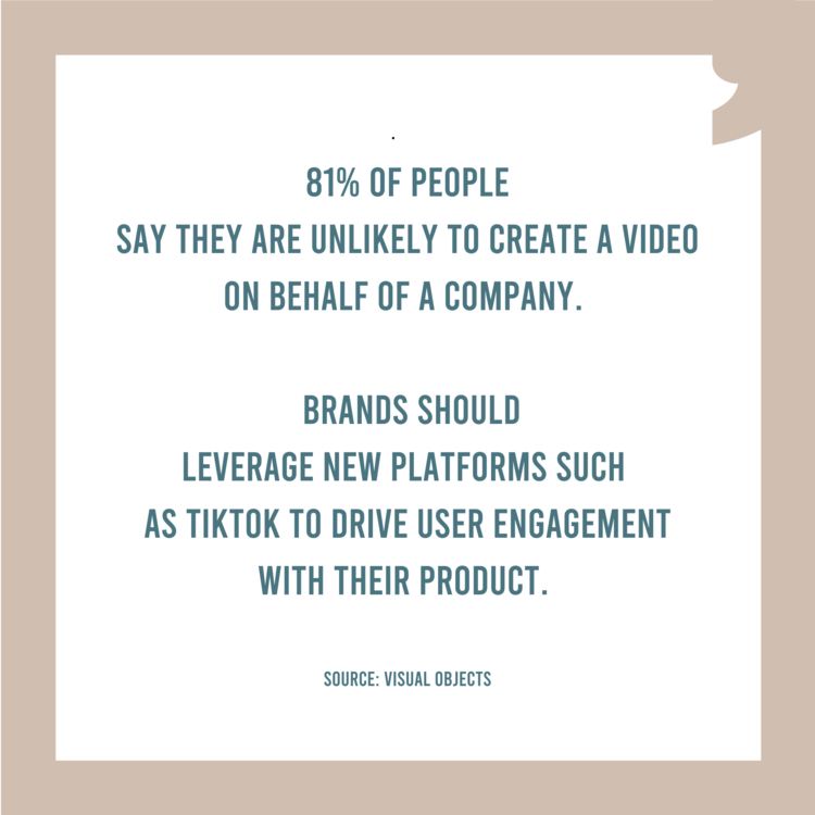 %c2%b7 81  of people say they are unlikely to create a video on behalf of a company. brands should leverage new platforms such as tiktok to drive user engagement with their product. source  visual objects medium