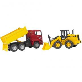 Bruder Toys 2752 MAN TGA Construction Truck and FR 130 Articulated Road Loader