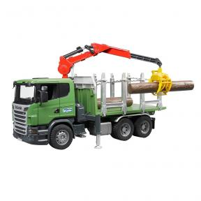 Bruder Toys 3524 - Scania R-series Timber Truck with Loading Crane and 3 trunks.
