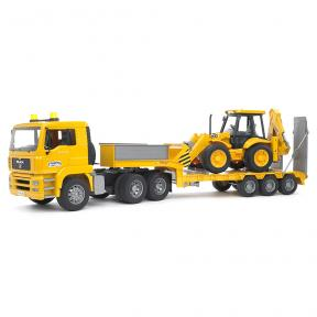 Bruder Toys 2776 - MAN TGA Low loader Truck with JCB 4CX Backhoe Loader