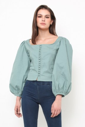 Olivia polka top in green