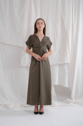 Abigail long gown in army