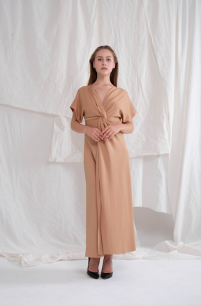 Abigail long gown in chocolate